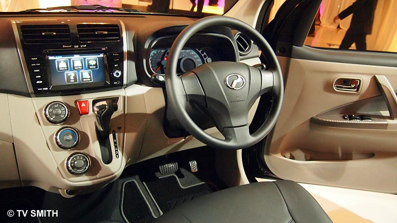 New Myvi dashboard with in-dash gear shift and 3D GPS navigation system