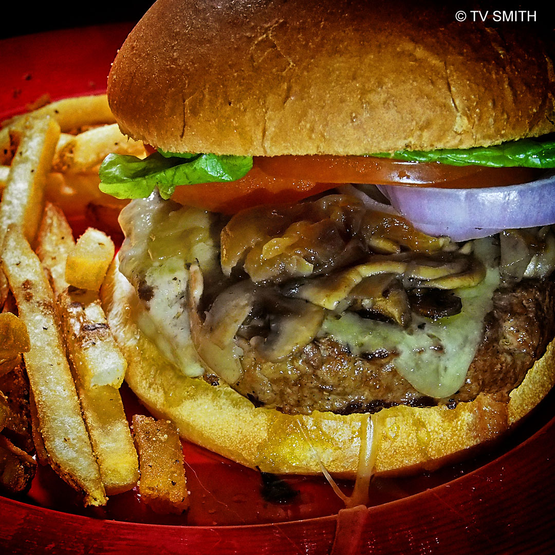 TGI Fridays' Mushroom Onion Swiss Burger