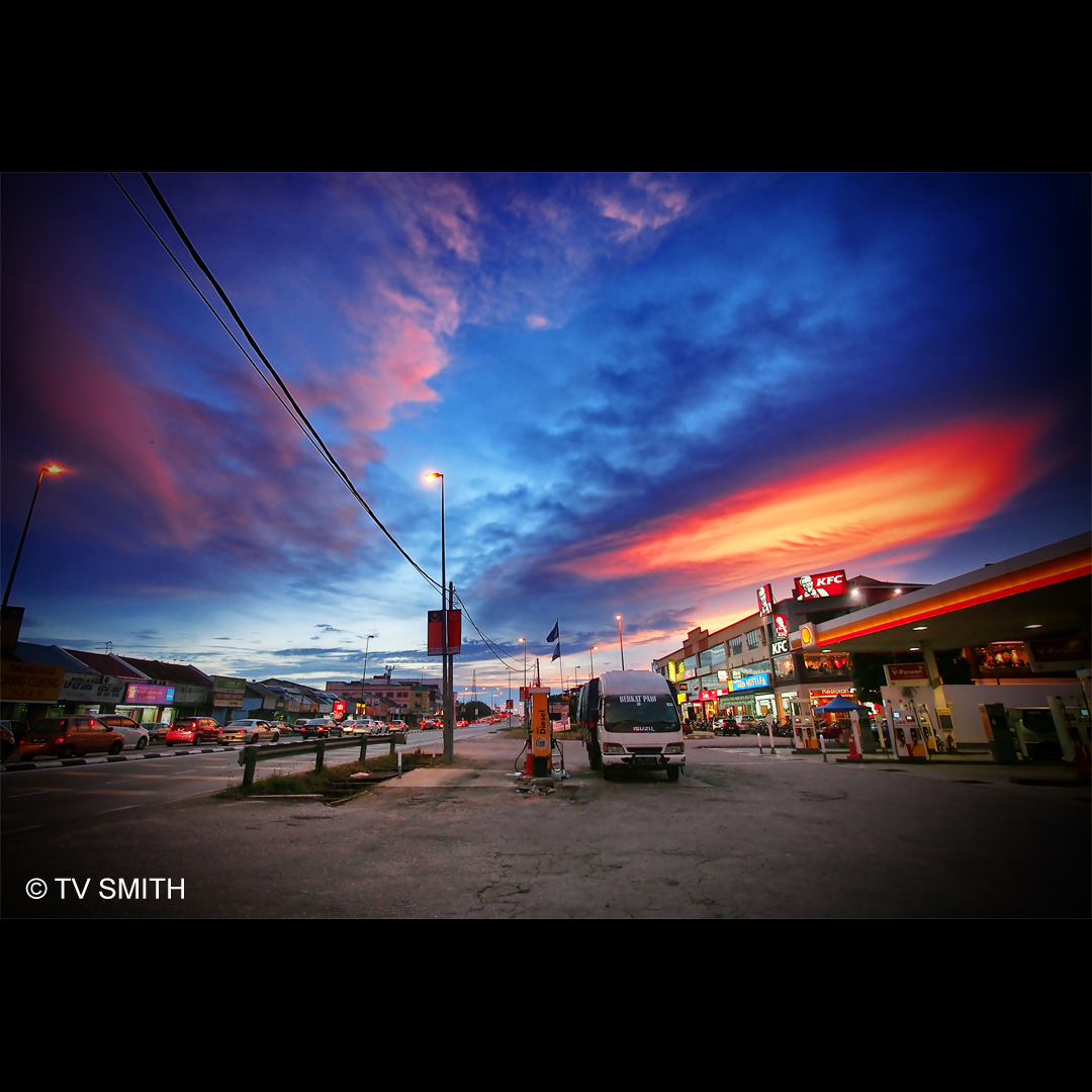 Shell Station-Coloured Sky Over A Shell Station
