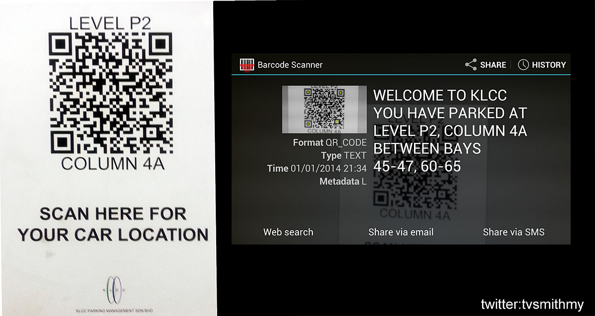 KLCC Car Park provides QR Codes to help you locate your car