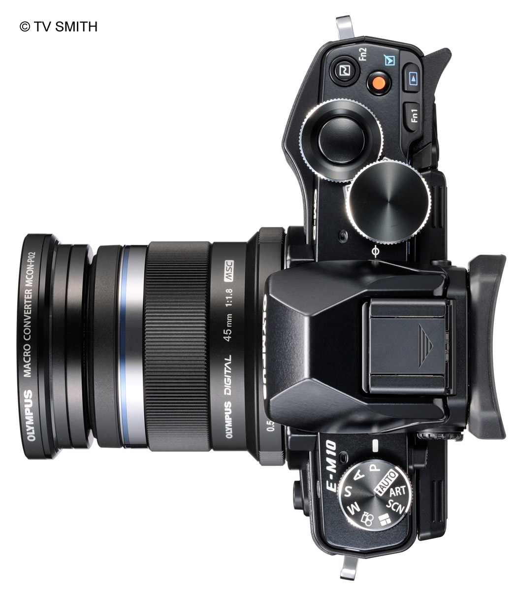 The New Olympus OM-D EM-10 shown here with the 45mm lens and macro convertor